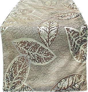 108 Table Runner Dining Elegant Fall Leaf Pattern Beige/Gold/Cream/Sand/Off White – Glam Thanksgiving Dinner, Spring Decor...