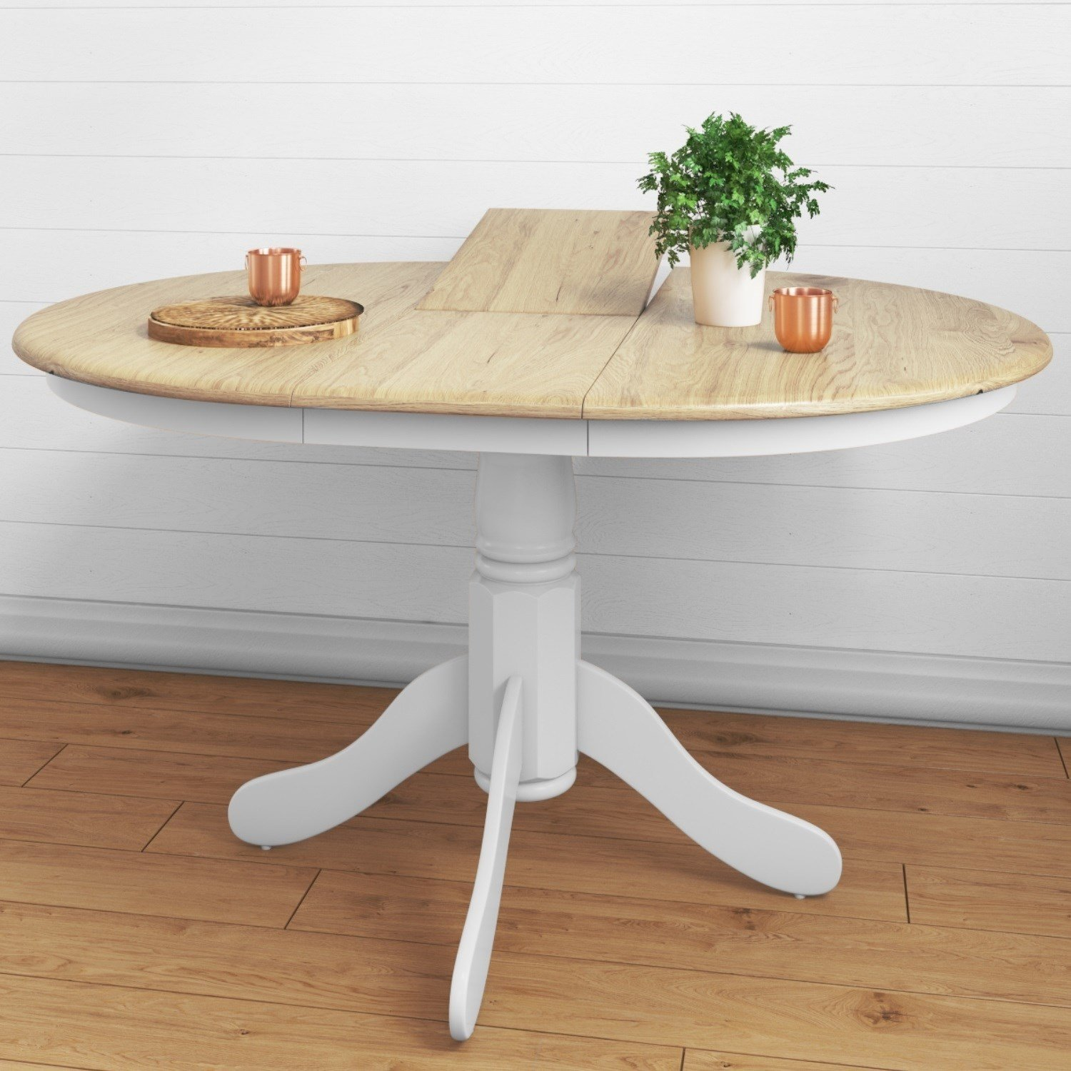 White Round Extending Table with 4