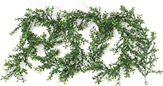 Larksilk Fake Greenery Garland 9' Artificial Boxwood Leaf Faux Ivy Vine Hanging Plant Home, Wedding, Party Decoration - Green (6)