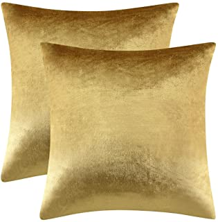 Best GIGIZAZA Gold Velvet Decorative Throw Pillow Covers,18x18 Pillow Covers for Couch Sofa Bed 2 Pack Soft Cushion Covers Reviews