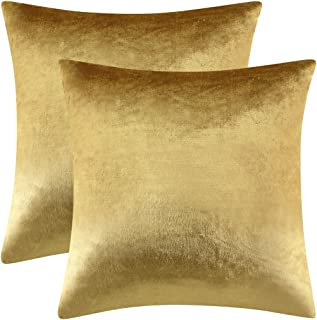 GIGIZAZA Gold Velvet Decorative Throw Pillow Covers,Pillow Cases for Sofa Bed 2 Pack Soft Cushion Covers (Gold, 18 x 18- Set of 2)