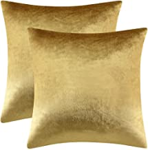 GIGIZAZA Gold Velvet Decorative Throw Pillow Covers for Sofa Bed 2 Pack Soft Cushion Cover (Gold, 20 x 20- Set of 2)