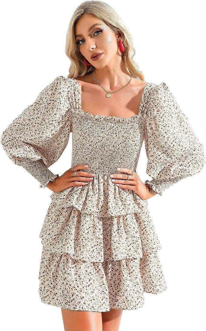 Byinns Womens Square Neck Tiered Ruffle Dress Floral Print Long Lantern Sleeve Tie Back Flowy Layered Swing Mini Dress