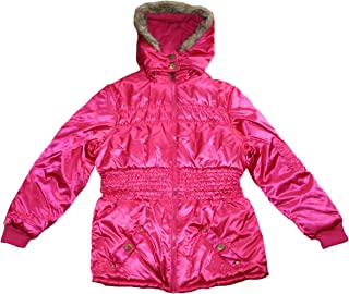 Velvet Chic Big Girls Sateen Puffer Jacket with Faux Fur