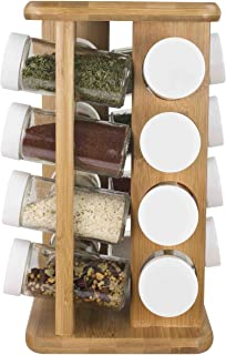 Home Basics 16 Piece Bamboo Revolving Spice Rack Holder, Countertop Spice Organizer, Natural