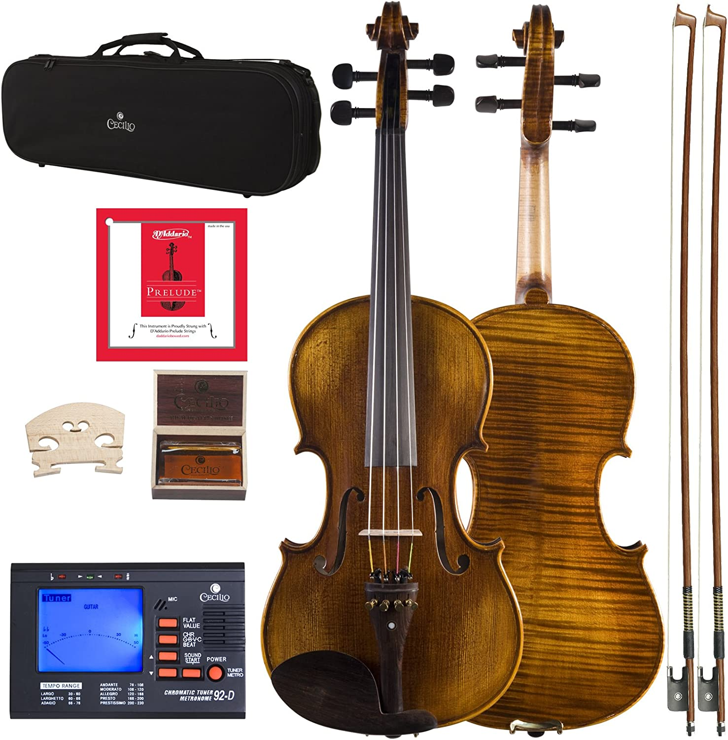 Beauty products Cecilio 15.5 Inch Viola Strung F with Cash special price D'Addario Prelude Strings