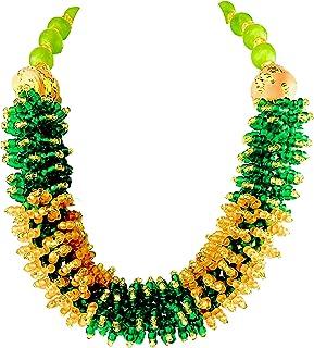 Sophia Dor 1D Green Orange Glass Bead Necklace Bracelet and Earring Set