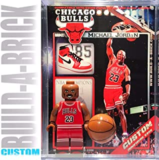 BuildABrick Michael Jordan Custom Basketball Mini Action Figure w/ Display Case & UV Protected Collectible Movie Poster Trading Card Gift for Boys Girls & Adult NBA Sports Superheroes Collections