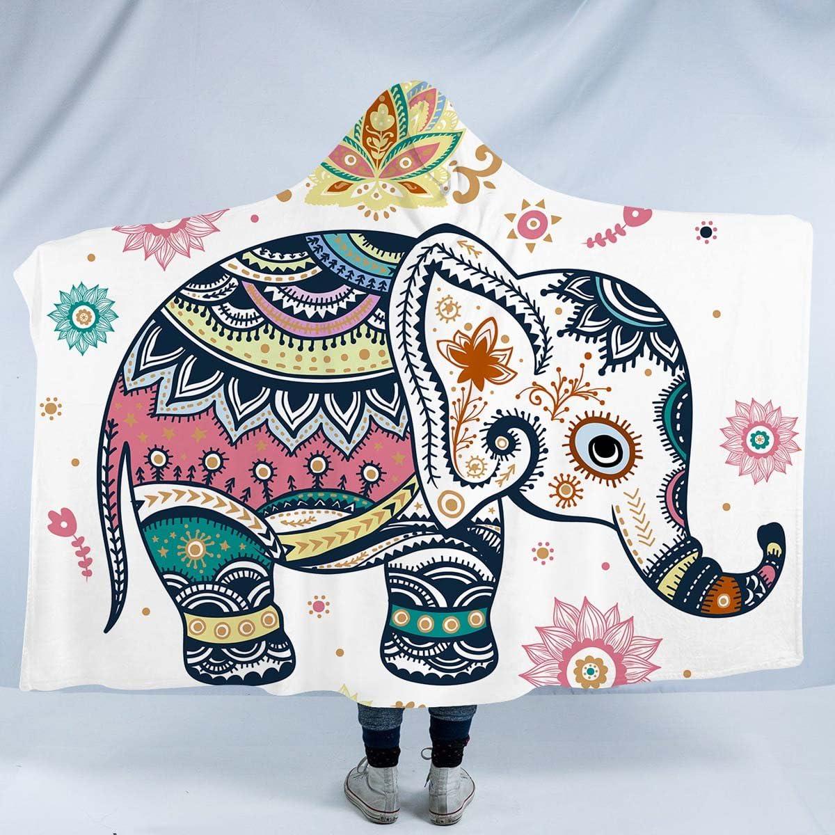 Black and White Elephant Hooded Blanket