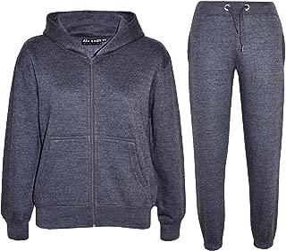 Kids Girls Boys Plain Tracksuit Hooded Hoodie Bottom Jog Suit Joggers 7-13 Years
