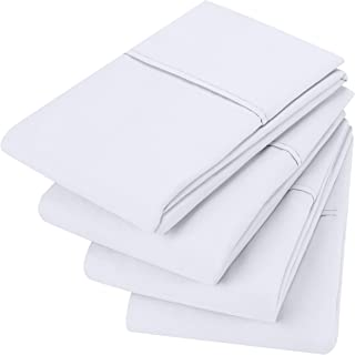 Utopia Bedding Brushed Microfiber Pillowcases - 20 by 30 inches Pillow Covers (Pack of 4, Queen, White)