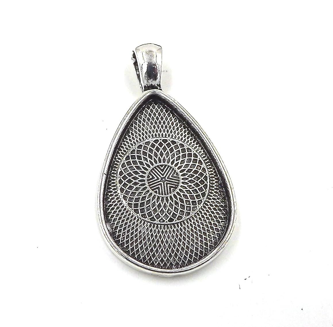 20 Deannassupplyshop Teardrop oval Pendant Trays -Antique Silver Color - 20X30mm - Pendant Blanks Cameo Bezel Settings Photo Jewelry - Custom Jewelry Making