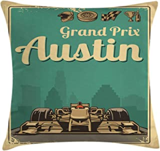Ambesonne Austin Throw Pillow Cushion Cover, Grand Prix Texas Racing Sports Car Cup Finish Sign Wheel Champagne Illustration, Decorative Square Accent Pillow Case, 40
