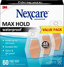 Nexcare Max Hold Waterproof Bandages, Clear, Family Pack, 60 ct Assorted