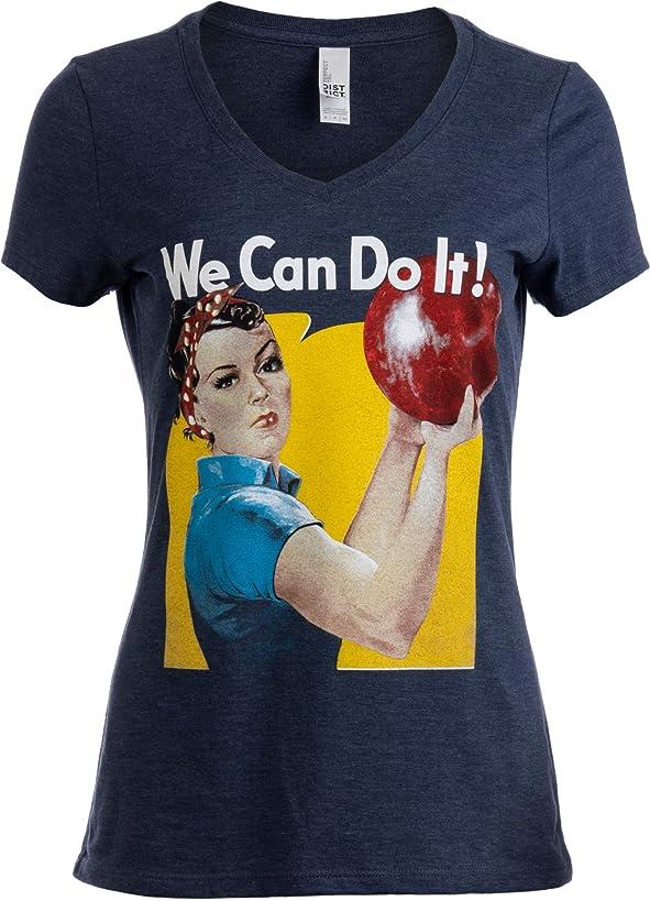 Rosie The Bowler | Funny Bowling Ball Team Uniform Fun V-Neck T-Shirt for Women