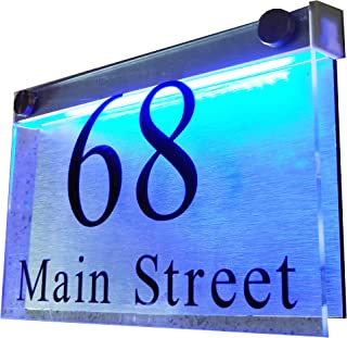 LED Illuminated Modern House Numbers Address Plaque, 8
