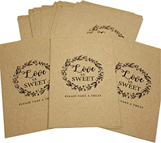 Wedding Favors Candy Buffet Bags - 25Pcs Brown Kaft Paper Wedding Favor Rustic Bags Good for Treat Snacks or Cookie Buffets - Please Take A Treat