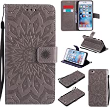 iPhone 6 / 6S Wallet Case,A-slim(TM) Sun Pattern Embossed PU Leather Magnetic Flip Cover Card Holders & Hand Strap Wallet Purse Case for iPhone 6 / 6S [4.7 Inch] - Gray