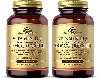 Solgar Vitamin D3 (Cholecalciferol) 250 MCG (10,000 IU) - Helps Maintain Healthy Bones & Teeth - Immune System Support - N...