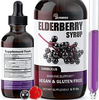 Elderberry Syrup - Immune Support with Antioxidants - Sugar-Free Black Elderberry Extract Liquid for Kids & Adults - Vegan...