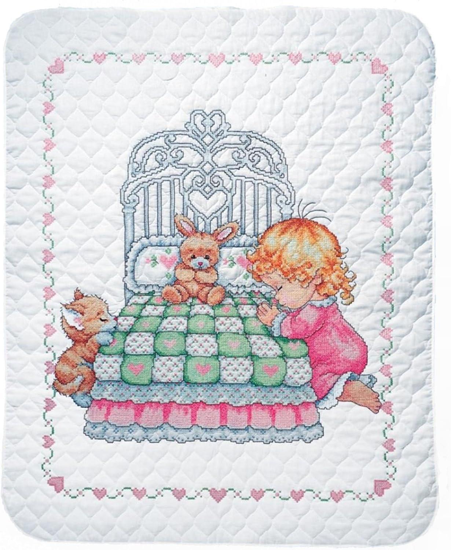 オンラインショッピング Tobin Bedtime 期間限定送料無料 Prayer Girl Baby Quilt Stamped Stitch Kit Cross -