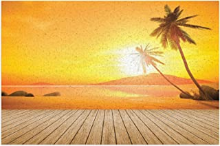 Hat&C Ocean Decor Sunset Over The Ocean with Palm Tree and Wooden Deck Horizon View Image Tropical Decor Orange Brown Mats...