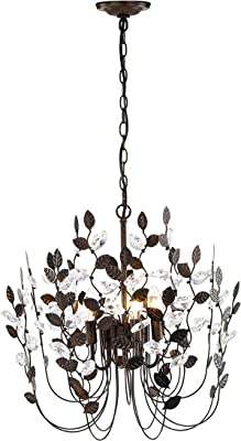 Crystal and Bronze Leaves Chandeliers Farmhouse Vintage Industrial 4-Light Indoor Pendant Lighting Leaf-Shaped Hanging Lamp Ceiling Light Fixtures for Dining Rooms Living Room Bedrooms Porch Kitchen