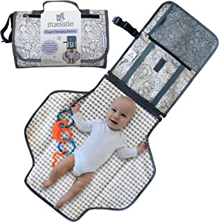 Suessie Portable Nappy Changing Mat - Waterproof Change Mat with Clutch - Travel Changing Pad Organizer - Baby Changing Ki...