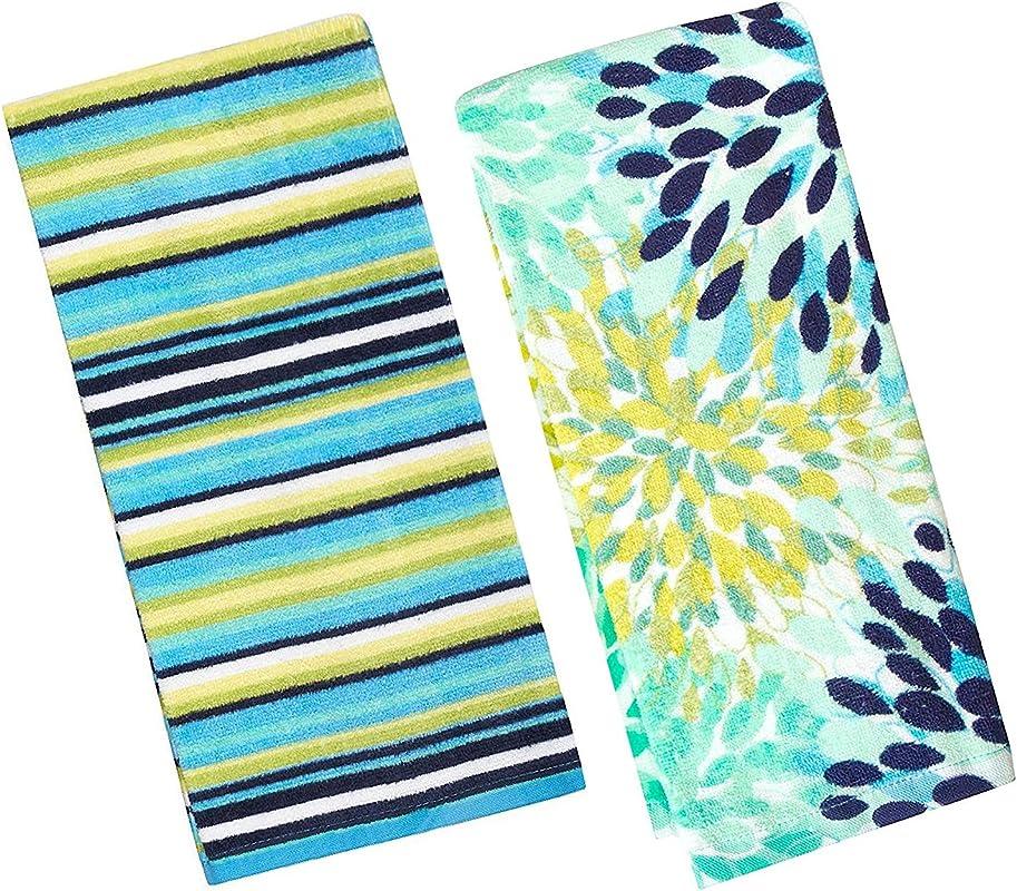 Fiesta Calypso Turquoise Floral Cool Blue Stripe Kitchen Towel Set