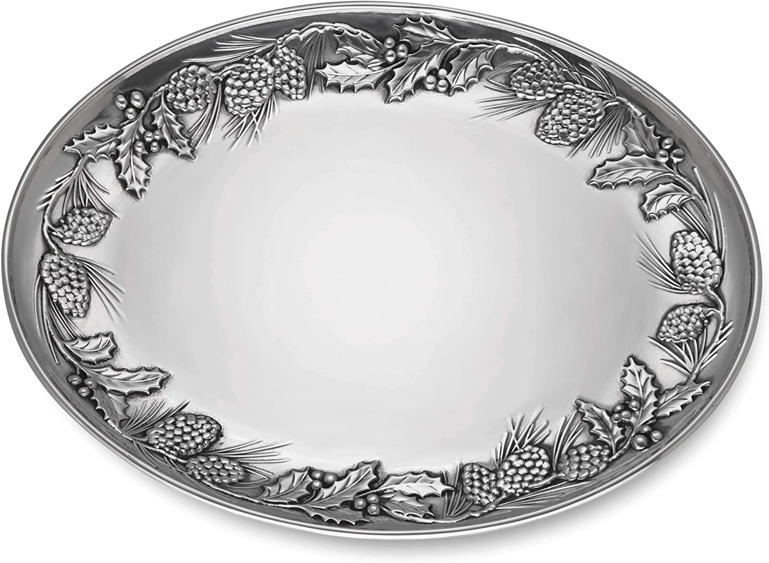 Lenox Holiday Fees free Metal Pinecone Holly Ranking TOP2 6.3 Gree Red LB Platter