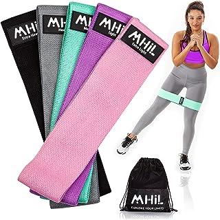 باندهای مقاومتی MhIL 5 - بهترین باندهای ورزشی برای خانمها و آقایان - نوارهای تمرینی پارچه ای الاستیک ضخیم برای تمرین ساق پا ، باسن ، Glute- Stretch Fitness Boot Loops Bands for Gym، Weights