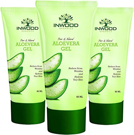 INWOOD ORGANICS Pure & Natural Aloe Vera Gel for Face, Skin & Hair - 60 ml Pack of 3 (Paraben & Sulphate Free), 60 ml (Pack of 3)