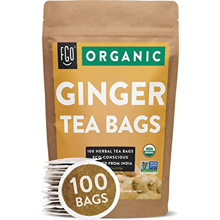 Organic Ginger Tea Bags   100 Tea Bags   Eco-Conscious Tea Bags in Kraft Bag   Raw from India   by FGO