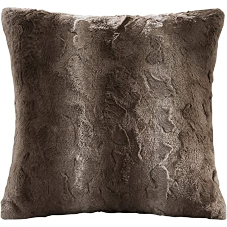 """FILLED LUXURY ALASKA SUPERSOFT CHOCOLATE BROWN FAUX FUR THICK CUSHION 22/"""" 55CM"""