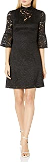 Adrianna Papell Womens AP1D101878 Mock Neck Sheath Dress with Lace Long-Sleeve Dress