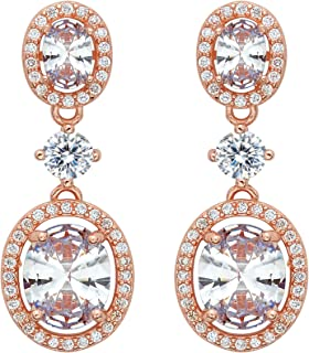 EVER FAITH Women's 925 Sterling Silver CZ Luxurious Oval Shaped Bridal Dangle Pierced Earrings