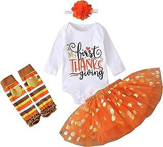 4PCS Newborn Baby Girl My First Thanksgiving Outfit Letter Romper+Polka Dot Tulle Tutu Skirt+Leg Warmer+Flower Headband