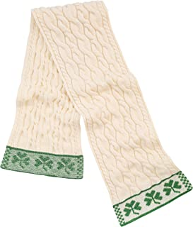 SAOL - Three Shamrock - 100% Merino Wool Cable Knit Scarf for Men's - One Size