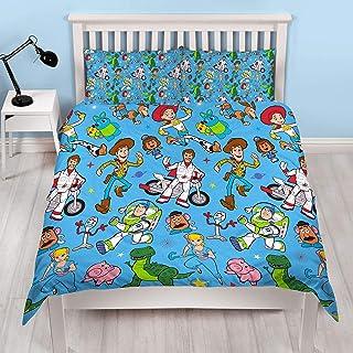 Funda de edredón oficial de Toy Story 4 para cama doble, diseño de rescate   funda de edredón reversible de dos caras con Woody & Buzz Lightyear con fundas de almohada a juego