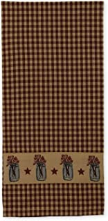 Mason Jar of Berries on Country Plaid 19 x 28 Inch Applique All Cotton Hand Tea Towel