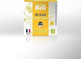 Capsule & Bio Weißer Tee mit Apfel und Passionsfrucht – 10 aluminiumfreie & kompostierbare Teekapseln, Nespresso kompatibel