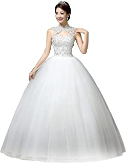 4750536b73d0 Clover Bridal Vintage High Collar Pearl Wedding Dress for Bride White Under  100