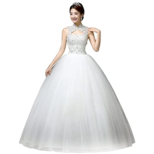 13361ba9dd0 Clover Bridal Vintage High Collar Pearl Wedding Dress for Bride White Under  100