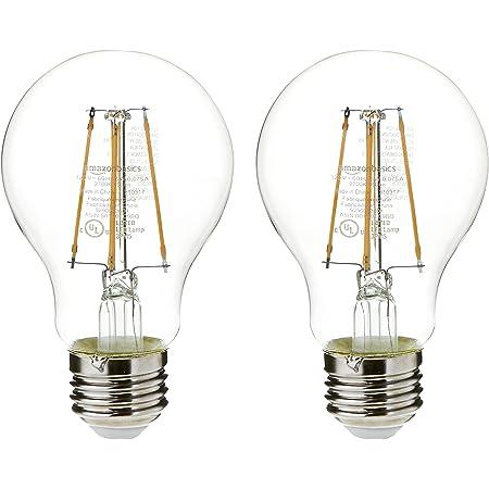 Amazon Basics 40 Watt Equivalent, Clear, Soft White, Non-Dimmable, 15,000 Hour Lifetime, A19 LED Light Bulb   2-Pack