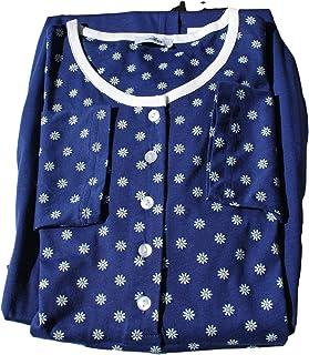 Eco Ragno Pigiama Donna Girocollo Serafino Fantasia Blu' Manica Lunga Pantalone Lungo UNITOIN Jersey di Puro Cotone Mis. d...