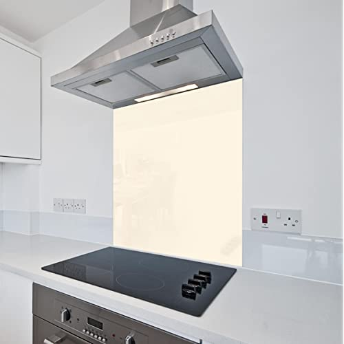Cream Kitchen Glass Splashback by Colour2Glass - 6mm Thick Heat Resistant Toughened Cooker Glass Splashbacks 600 x 600mm