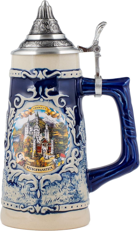 Germany Neuschwanstein Stoneware Raised Relief Decoration Half Liter Beer Stein with Pewter Lid