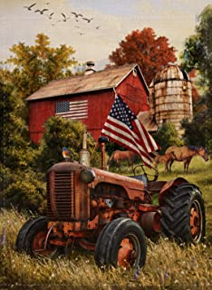 Selmad July 4 Patriotic Garden Flag Summer Fall Farm Double Sided, USA Spring Autumn Old Barn Tractor Horse Burlap Decorat...