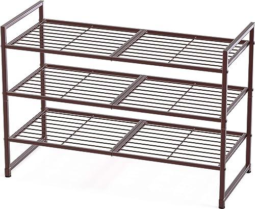 2021 Simple Houseware discount 3-Tier Stackable Shoes Rack Storage new arrival Shelf, Bronze online