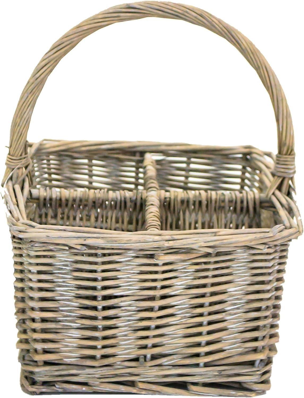 east2eden Set of 4 Handled Driftwood Wicker 4 Compartment Condiment Basket
